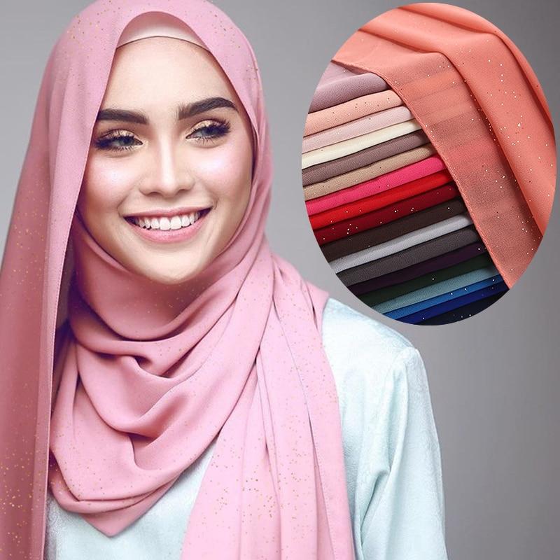 Summer Glitters Plain Chiffon Muslim Hijab Scarf Shawls And Wraps Islamic Hijabs Femme Musulman Turban For Women Hoofddoek