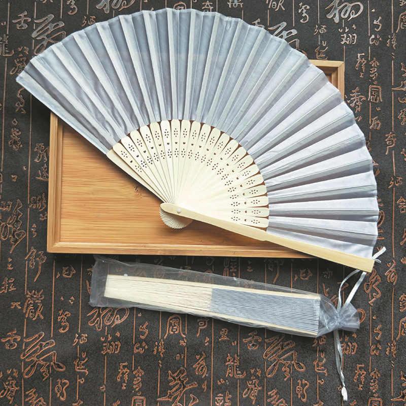 Colorido ventilador plegable estilo chino ventilador de mano bambú seda plegable ventilador fiesta decoración de boda Dropshipping