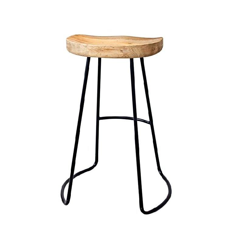 Bar Stool Modern Minimalist Wrought Iron Wood Nordic High Stools Home Bar Chair Fashion Creative Coffee Lounge