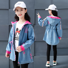 2019 New Feiluo Toddler Kids Girls Denim Jean Fall Jacket Button Coat  Tops Outwear 4 5 6 7 9 12 15 years girls Jacket FDX03329 2016 new autumn girl coat print denim button trench children jacket long sleeve toddler kids girl outwear for 9 10 11 13 years