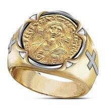 Männlichen Punk Galvani Zwei-ton Jesus Kreuz Ring Goldene Jesus Gesicht Ring für Männer Partei Schmuck