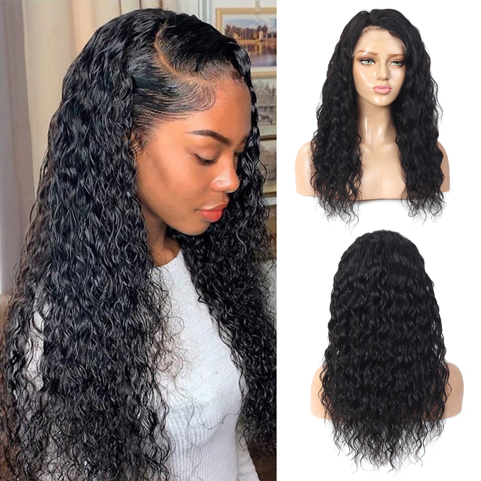 Water Wave 13x4 Lace Front  Wigs for Black Women Prepluck Glueless  Curly 4X4HD Lace Closure Wig 3