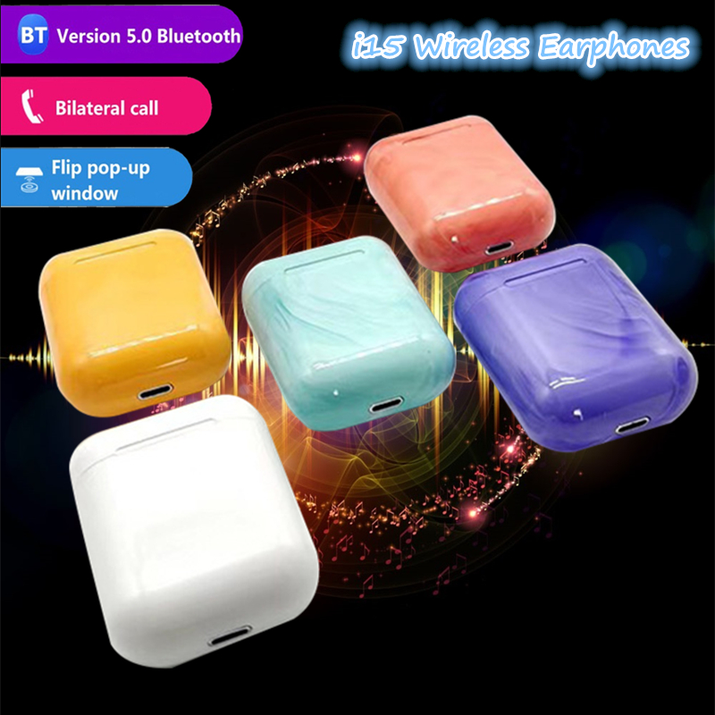 I15 Bluetooth Wireless Earphones 3D Stereo Sound Headphones With Charging Box Colourful Earbuds For Iphone Xiaomi Huawei Oppo