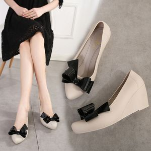 5 cm Wedges Heel Jelly Shoes Spring Med Heel Pumps Shoes Women Sweet Knot Sandals Summer Rain Shoes Slip On Anti Skid