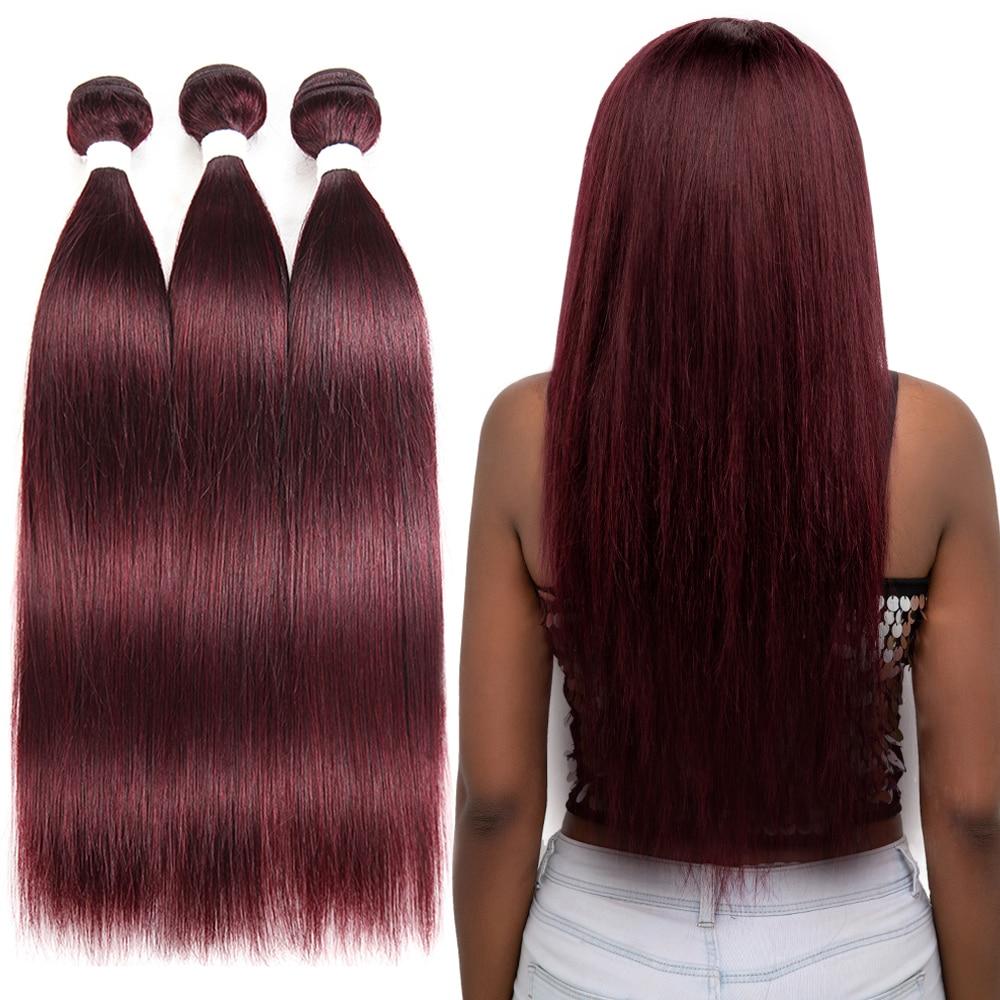 99J Бургундский красный цвет, прямые 3 пряди, натуральные волосы, бразильские не Реми, 1/3/4 пряди, Омбре, светлые волосы, Weft Euphoria