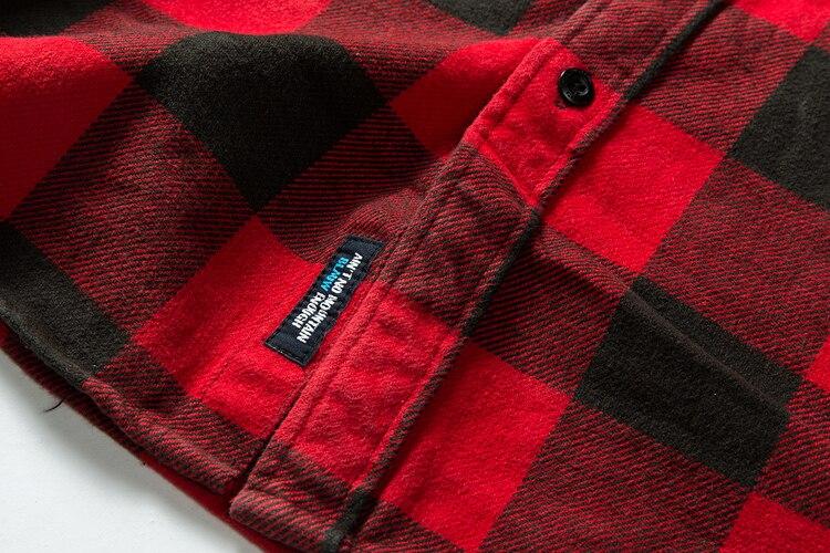 H31a63e8bef2e4bc8a675bd9b8be8697fZ 100% cotton heavy weight retro vintage classic red black spring autumn winter long sleeve plaid shirt for men women