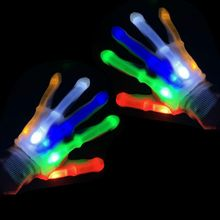 Toys Flashing Cool Cosplay Party Nylon Halloween Ghost 1-Pair Costume-Props Led-Gloves