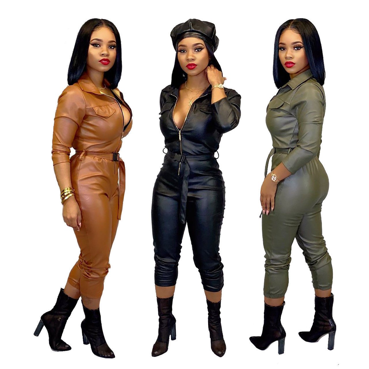 2020 Europe and the United States autumn new women's solid color fashion casual long section with jumpsuit (including belt)