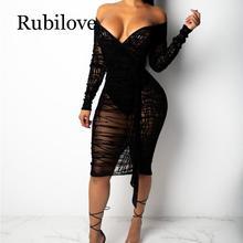 Rubilove Ruffle Sheer Lace Bodycon Dress Plus Size S-4XL Women Sexy V Neck Off Shoulder Long Sleeve Sheath Midi Club Party Dress
