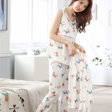 3 Pcs/set V-Neck Printed Maternity Nursing Sleepwear Women Tops Pants Breastfeeding Nightwear for Pregnant Home Clothing Suits