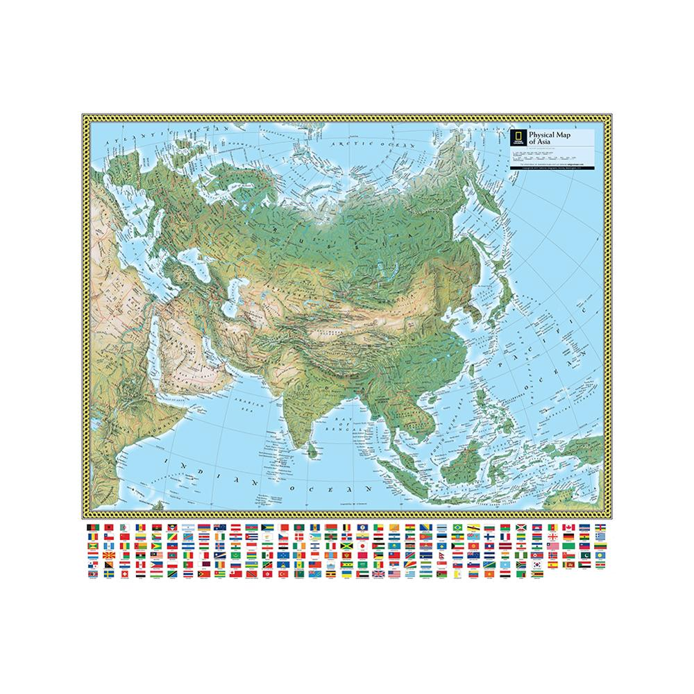 Physical Map Of Asia 90x90cm Non-woven Vinyl Inkjet Map With National Flag For Culture And Education