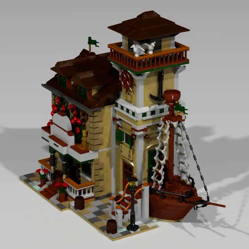 MOC Streetview el barco casa restaurante modelo bloques de construcción creativa arquitectura pescador cabaña ladrillos juguetes para niños regalos de cumpleaños