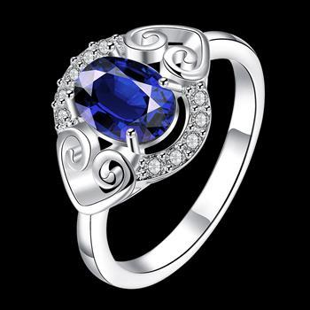 Silver Plated Double Heart Ring Set Blue Elliptical Zircon for Women Ring Promise Rings for Couples Jewellery Gift 2021SPR007-B image