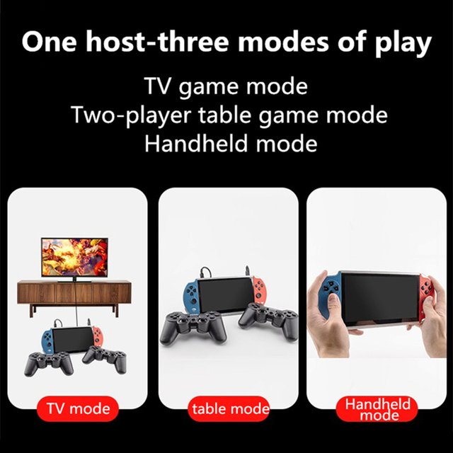CZT 7-inch Colorful double player game console built-in 9900 games support arcade/neogeo/gbc/snes/fc/md multi-emulator mp3/mp4 5