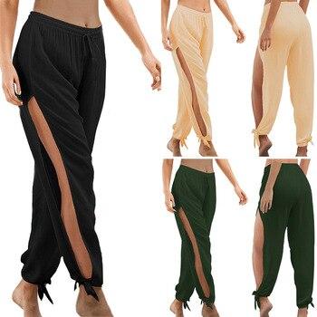 Merry Pretty  Fashion summer high slit haren pants sweatpants women solid hippie harem wide leg trousers S-3XL plus size