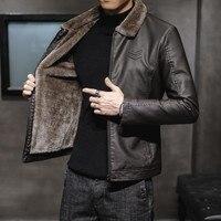 Neue Dicke Leder Jacke Herren Winter Herbst männer Jacke Fashion Faux Pelz Kragen Winddicht Warme Mantel Männlich Marke Kleidung MY156