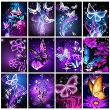 Huacan 5d Diamant peinture papillon à la main cadeau mosaïque Animal broderie fleur Artisanat Diamant Stickers muraux