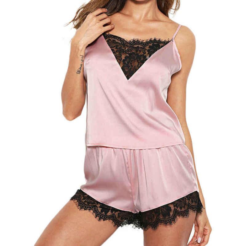 Hirigin ผู้หญิงชุดนอนชุดนอนสุภาพสตรีเสื้อแขนกุด + กางเกงขาสั้นผ้าไหมซาติน Ruffles ลูกไม้ชุดนอนชุดชั้นใน