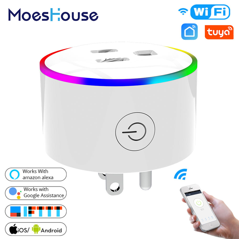 US WiFi Smart Plug Outlet Wireless Power Socket Smart Life/Tuya App Remote Control Work With Alexa Google Home No Hub Required