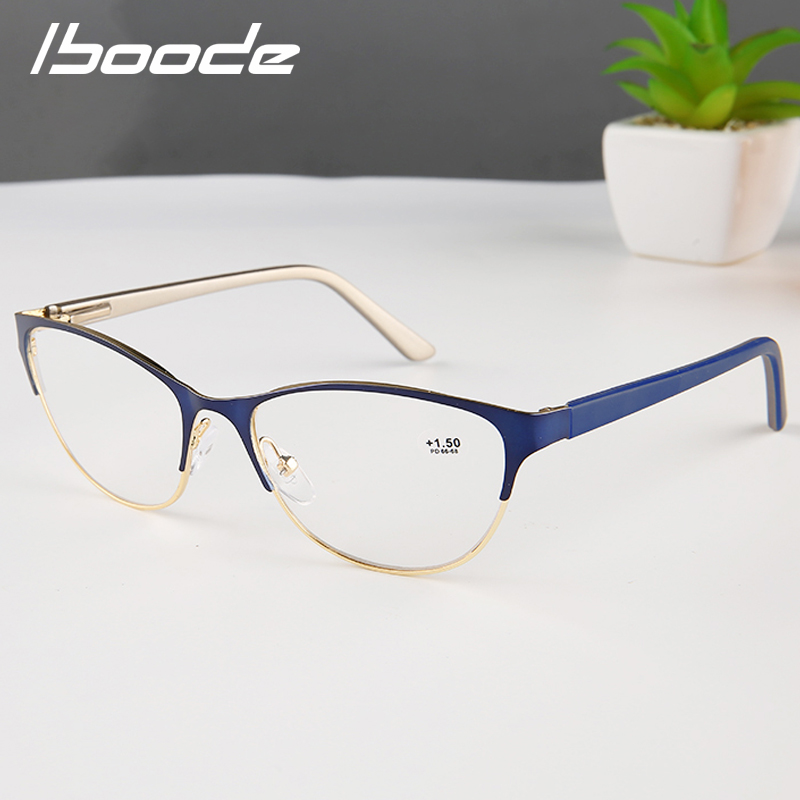 Iboode Lady Cat Eye Reading Glasses Women Presbyopic Eyeglasses Female Hyperopia Eyewear Spectacles 1.0 1.5 2.0 2.5 3.0 3.5 4.0