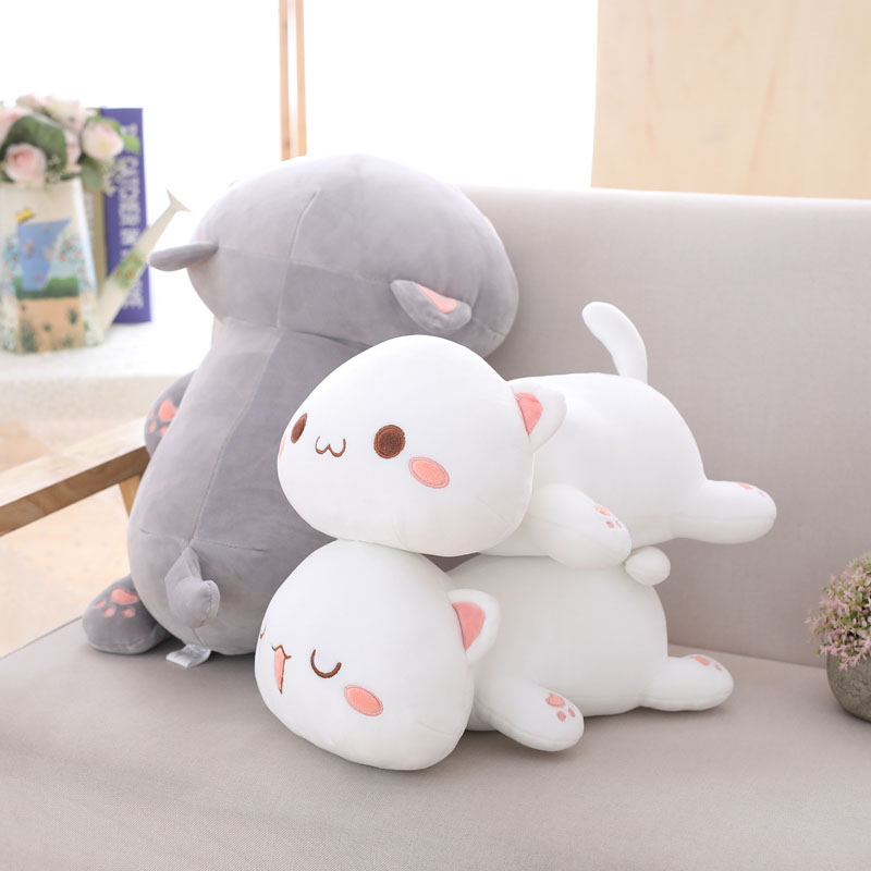 nooer cute cats stuffed plush pillow cushion lying cat plush toys kids soft doll birthday gift