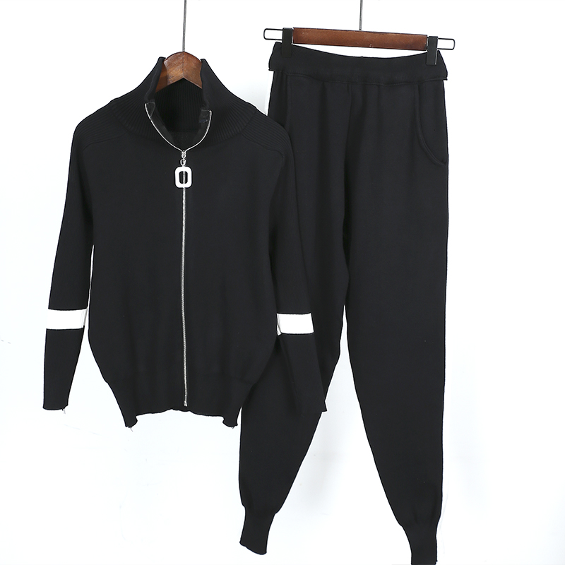 2019 New Women Two Piece Set Autumn Zipper Jacket Coats Top + Pant Knitted Suits Sweaters Trousers Sportsuit Woman Tracksuits