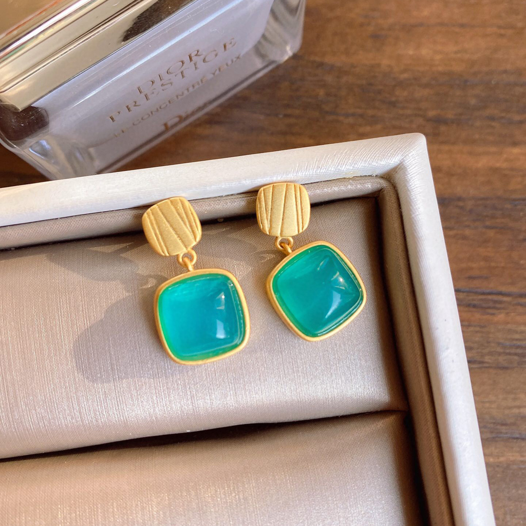 Women Frosted 925 sterling silver square Amazonite natural gemstone drop earrings and ring Ancient Craft gold-plated jewelry set