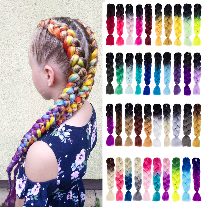 Synthetic Braiding Hair Extensions Hair 100g/Pack 24 Inches Xpression Jumbo Braid Crochet Hair Braid Ombre