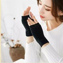 1 пара перчатки черный половина палец пальцы для женщин и мужчин шерсть трикотаж запястье хлопок спорт перчатки зима тепло верховая езда перчатки