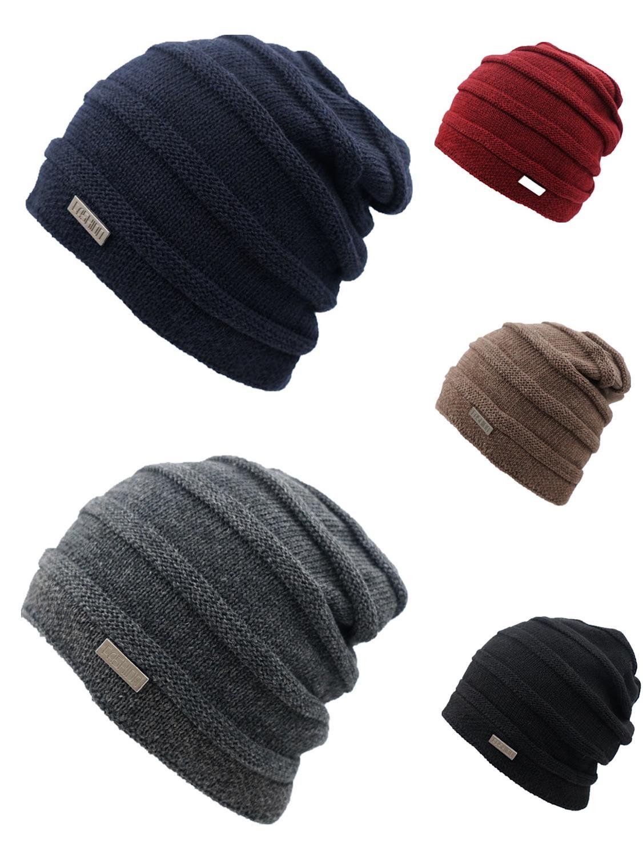 Love Men /& Women Winter Warm Knitting Beanie Hat Skull Chunky Cuff Cap