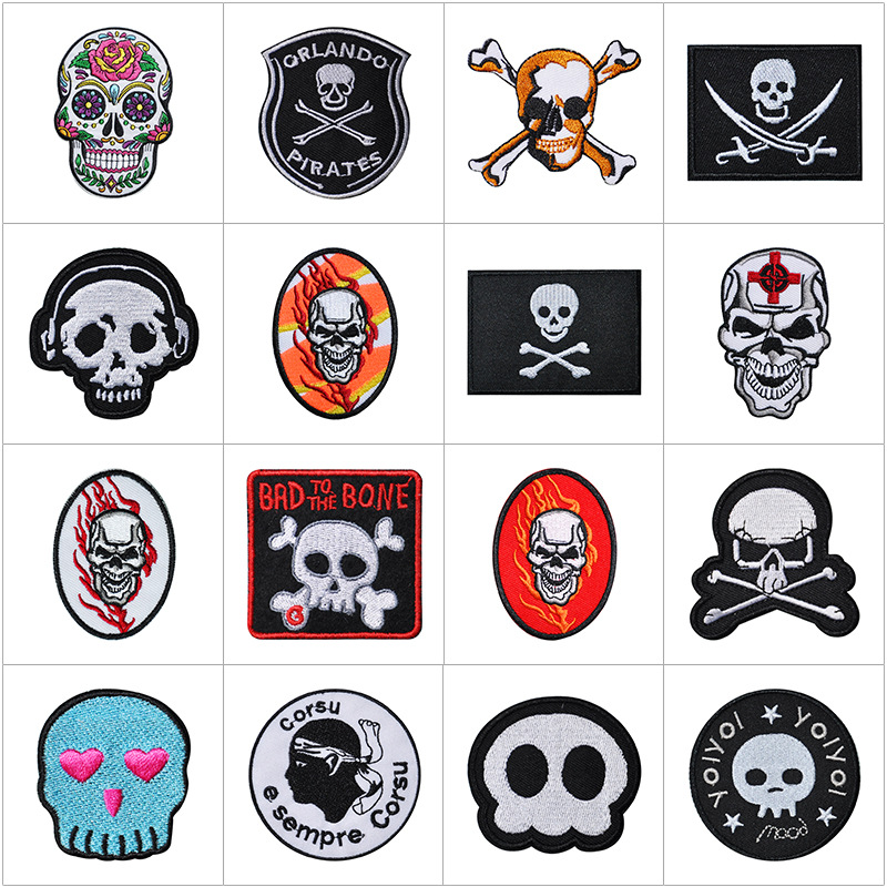 6/' SKULL DICE ACES 8s EMBROIDERED CLOTH SEW IRON ON PATCH BADGE BIKER MOTORCYCLE