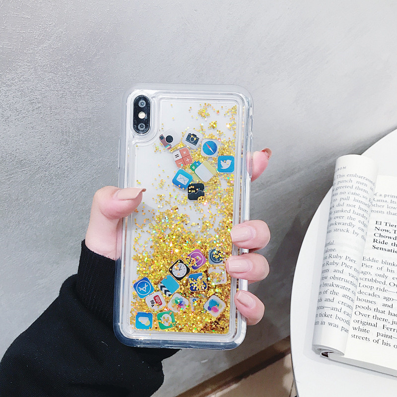Liquid Glitter Quicksand Silicone Soft Tpu Case for IPhone 11 Pro Max Cute App icon Coque Water Cover for Xs Max Xr X 6 7 8 Plus image