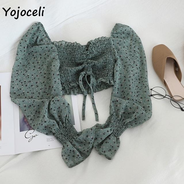 Yojoceli boho beach print blouses shirt women long sleeve ruffle short blouse tops female blusas