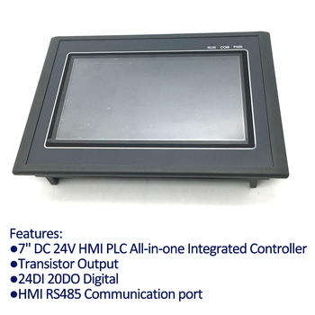 7'' HMI PLC All-in-one Integrated Controller Transistor Output 24DI 20DO Digital 7Inch Touch Panel Analog input & output 0-10V 16 transistor output switch quantity isolation 16di digital input rs485 modbus communication