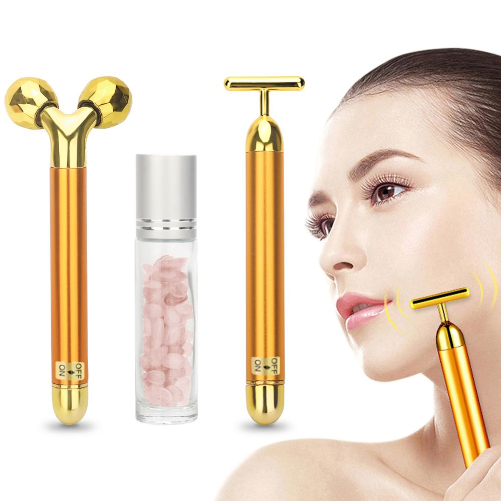 3 In 1 Energy Beauty Bar 24k Golden Vibrating Facial Roller Massager Face Lifting Anti-wrinkle Skin Care Gemstone Roller Ball