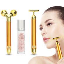 3 in 1 Energy Beauty Bar 24k Golden Vibrating Facial Roller Massager Face Liftin