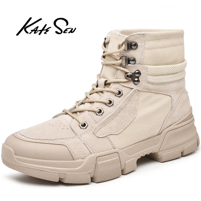 KATESEN Men Boots Fashion canvas Workwear Comfortable Outdoor Non-slip Casual boots Martin Soft