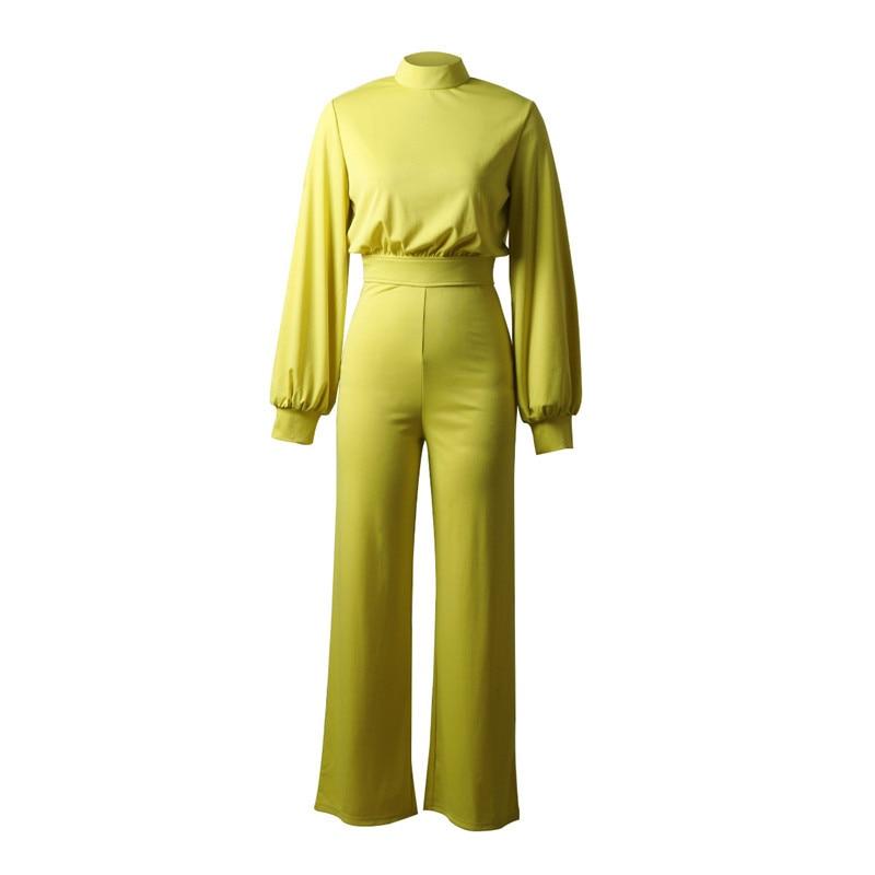 Image 4 - Turtleneck Lantern Sleeve Loose Rompers Womens Jumpsuit Tunic Wide Leg Flare Pants Elegant Overalls Yellow Black White JumpsuitJumpsuits   -