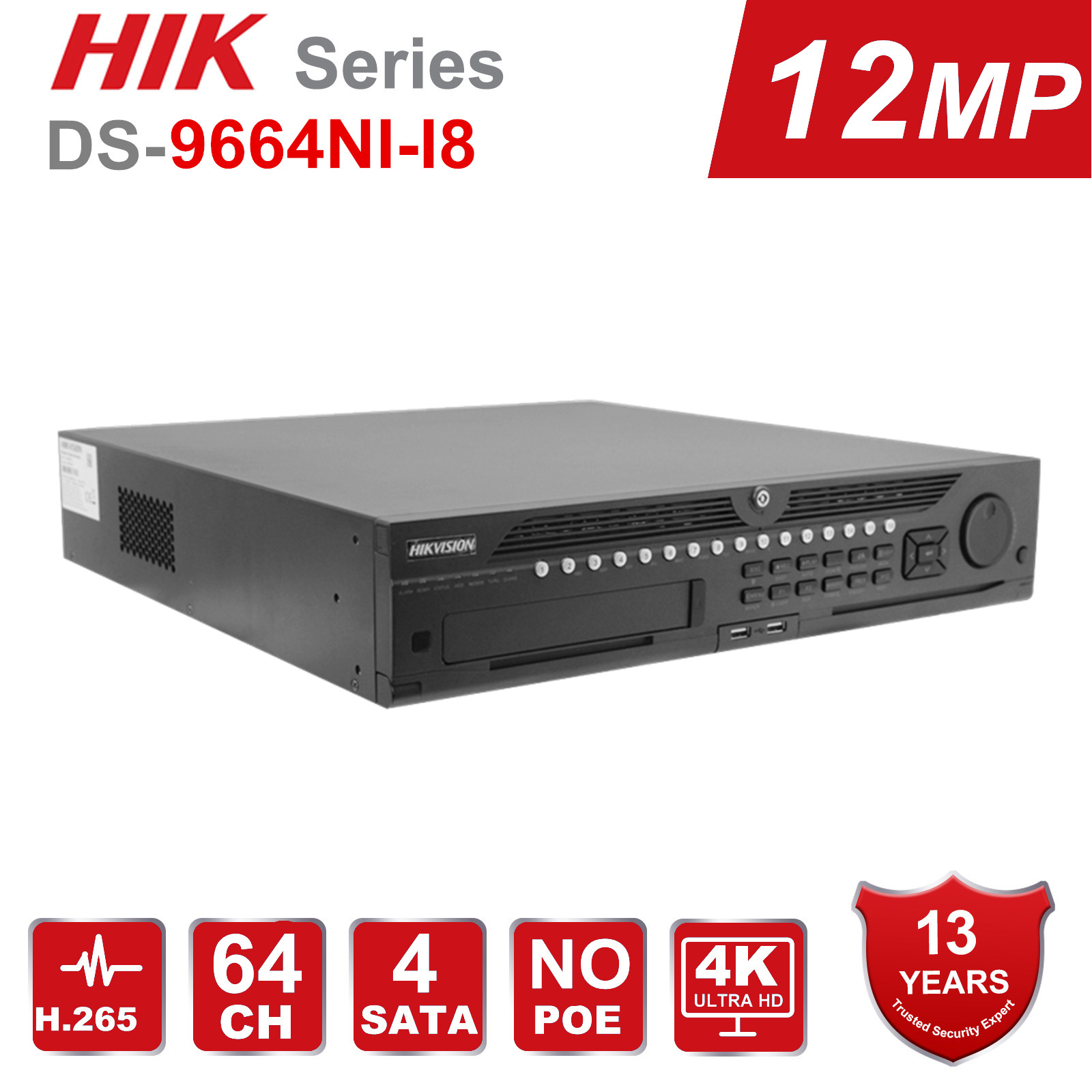 Hikvision Professional 64 Channel CCTV System DS-9664NI-I8 Embedded 4K 64 CH NVR Up to <font><b>12</b></font> Megapixels Resolution 8 <font><b>SATA</b></font> 2 HDMI image