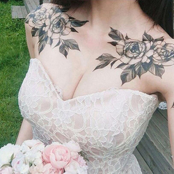 Black Rose Flower Tattoo Sleeves Temporary Tattoo Water Transfer Tatoo Sticker Peony Rose Tattoos Body Art Tatoo Girl Arm Tatto
