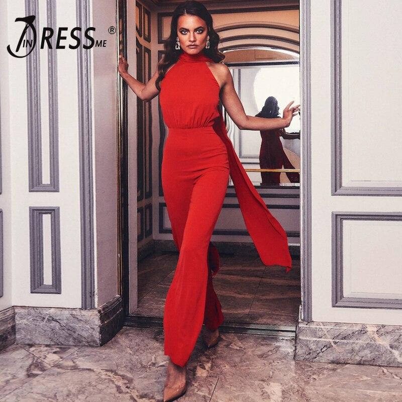INDRESSME 2020 новый модный винтажный Красный комбинезон с высокой талией, сексуальный комбинезон с завязками на шее без рукавов с широкими штани