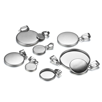 10pcs/lot 6-25mm Stainless Steel Round Pendant Cabochon Base Setting Tray Blank Charms Pendant for DIY Jewelry Making Supplies 18x25mm round glass cabochon base setting pendant tray for jewelry diy making diy accessories for jewelry