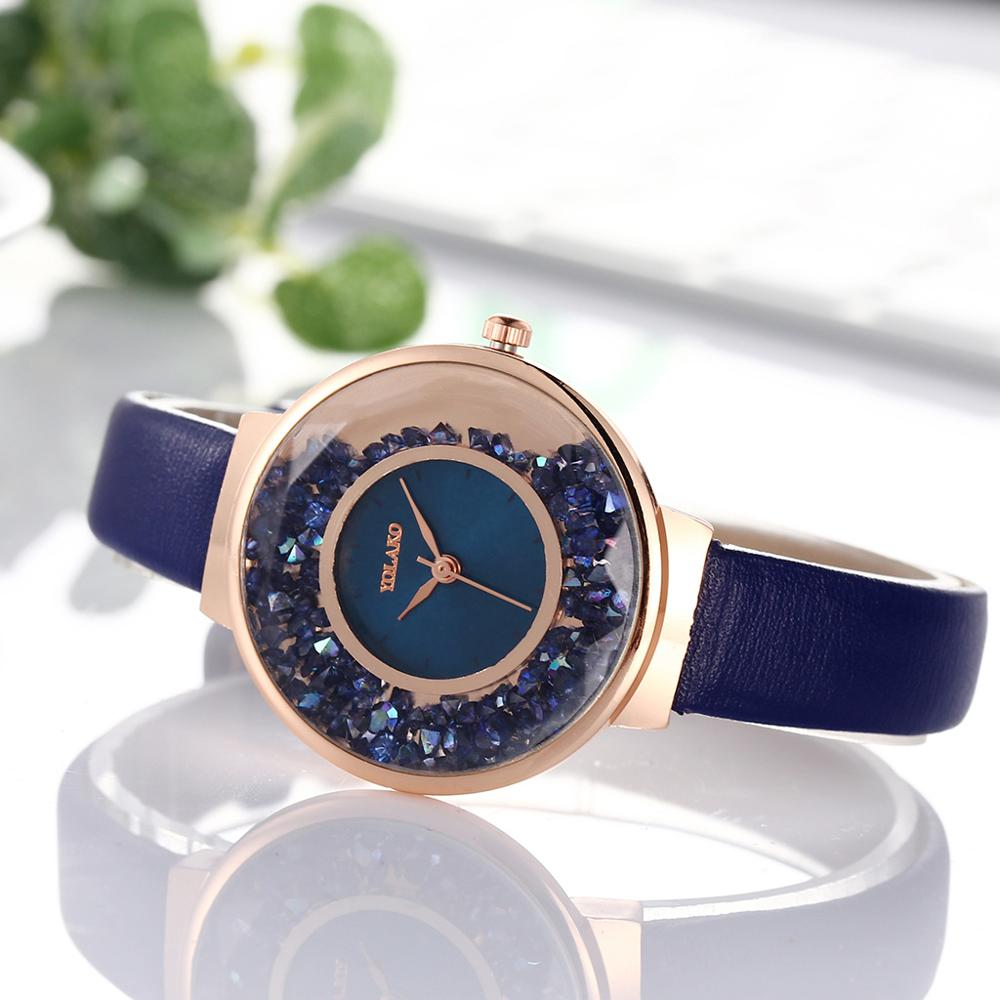 Luxury Women Watches Fashion Women Blue Watch Female Casual Remove Rhinestone Quartz Wristwatch Leather Ladies Simple Clock 2019