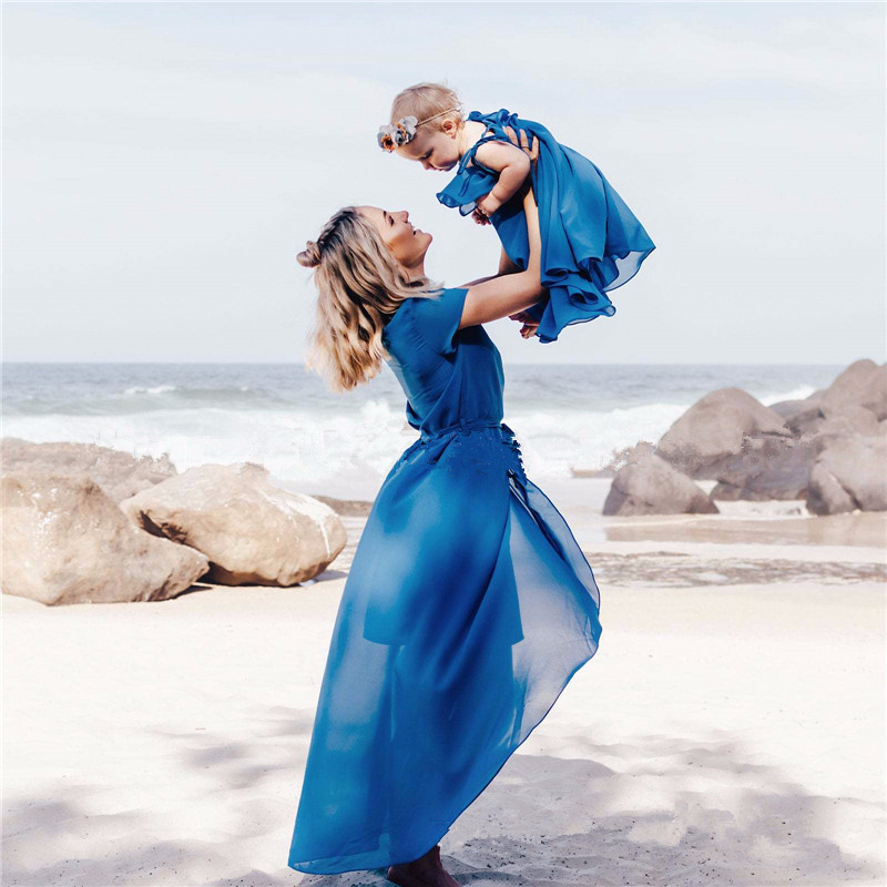 LILIGIRL Mom And Daughter Dress Chiffon Solid Belt Irregular Dress Family Matching Clothes Fashion Mother Daughter Dresses