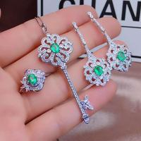 Real Natural Emerald jewelry set Natural Real Emerald 925 sterling silver 1pc pendant,1pc ring,2pcs Earring