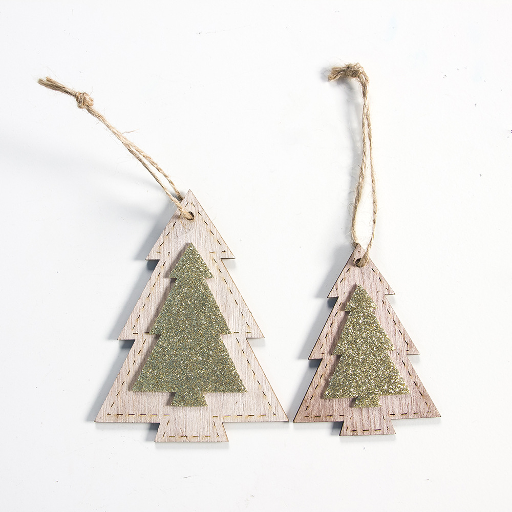2pcs New Year 2020 Gift Natural Wooden Christmas Tree Pendants Christmas Ornaments Decorations for Home Adornos De Navidad 2019 29