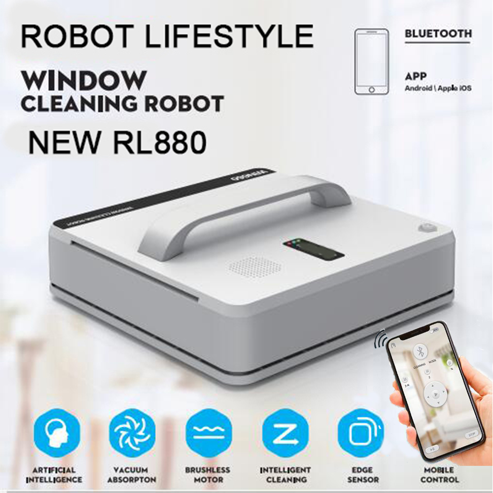 RL880 Automatic Window Cleaning Robot,intelligent Washer,Remote Control,Anti Fall UPS Algorithm Glass Vacuum Cleaner Tool WIN660