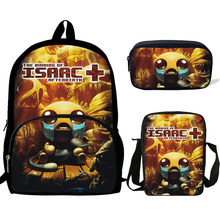 16inch Mochila School Bags the binding of isaac Girls Backpack Bag For Teenagers Boys Rucksack 3 Set gift Kids Bookbag(China)