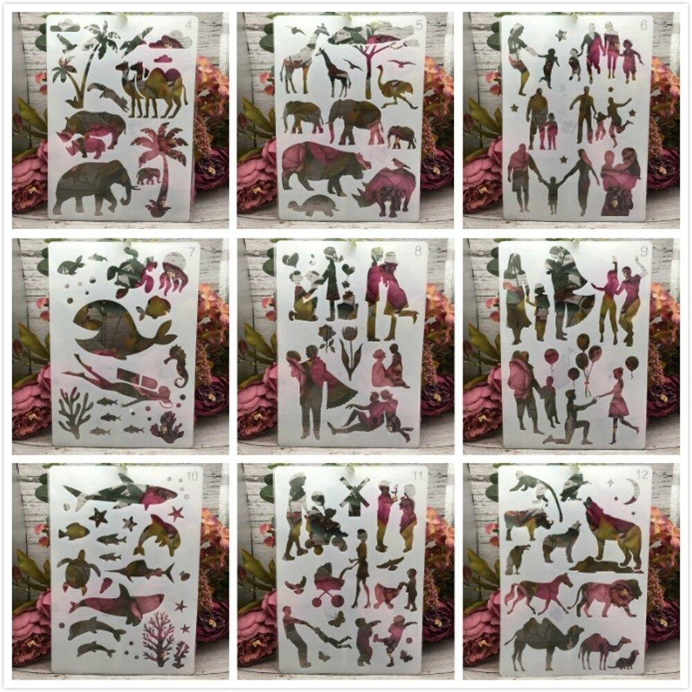 1Pcs A4 Animals Dinosaur Family Couple DIY Layering Stencils Painting Scrapbook Coloring Embossing Album Decorative Template