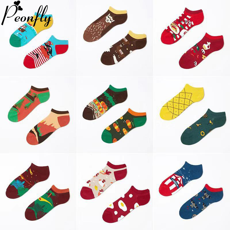 PEONFLY New 2020 Spring Summer Socks Men Creative Cartoon Printed Ankle Socks Men Casual Cotton Funny Happy Socks Male